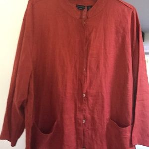 NWOT Tahari 3X linen long sleeve button top